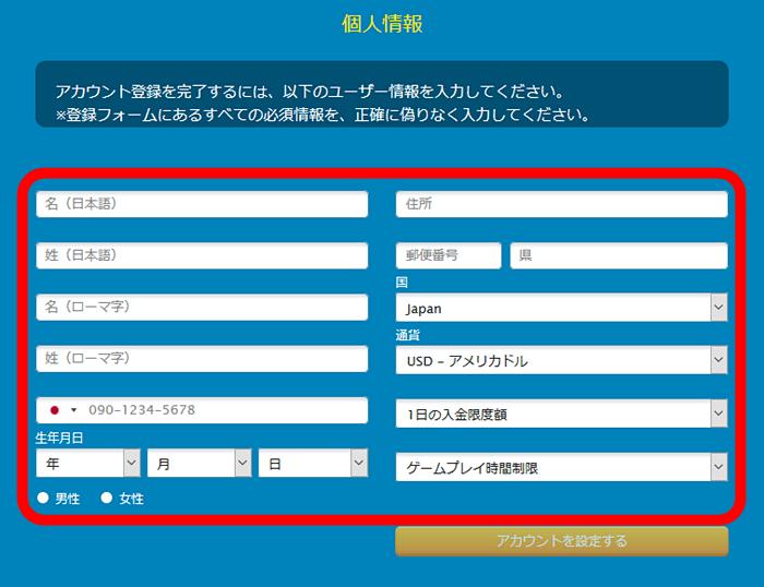 ベラジョンカジノ登録 個人情報入力画面